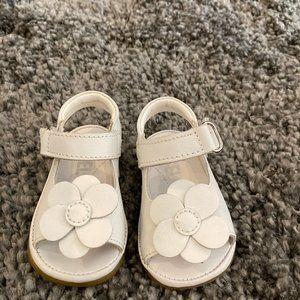 Girls Angel White Leather Flower Sandals